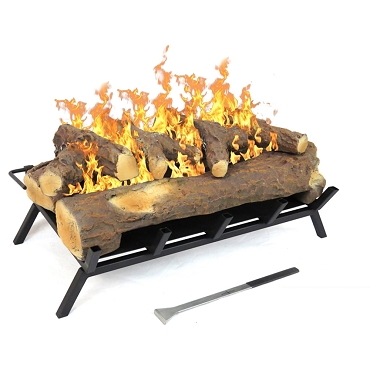 Regal Flame 24 inch Convert to Ethanol Fireplace Log Set with Burner Insert from Gel or Gas Logs in Oak