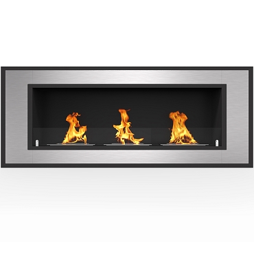 Regal Flame Cynergy 50 Inch Ventless Built In Recessed Bio Ethanol Wall Mounted Fireplace