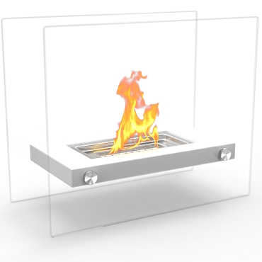Regal Flame Monrow Ventless Tabletop Portable Bio Ethanol Fireplace in White