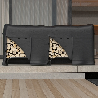 Dura Covers Heavy Duty 8 Foot Black Water Resistant Firewood Log Rack Cover