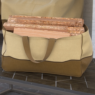 Dura Covers Tan Heavy Duty Jumbo Canvas Log Tote Bag Carrier Indoor Fireplace Landmann Firewood Totes Holders Round Woodpile Rack Fire Wood Carrier Carrying for Outdoor Tubular Birchwood Stand