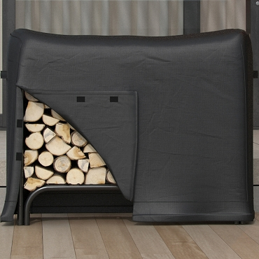 Dura Covers Heavy Duty 4 Foot Black Water Resistant Firewood Log Rack Cover