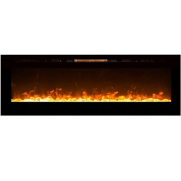 Regal Flame Gotham 72 Inch Built-in Ventless Heater Recessed Wall Mounted Electric Fireplace - Crystal