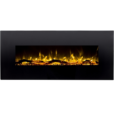 Regal Flame Ashford 50 Inch Black Ventless Heater Electric Wall Mounted Fireplace - Log