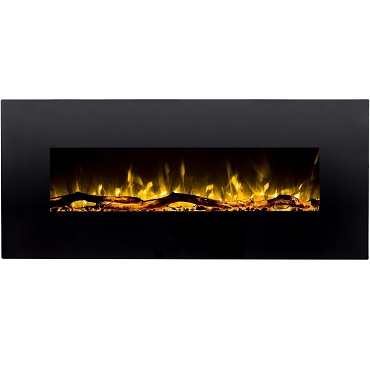 Regal Flame Denali 60 Inch Black Ventless Heater Electric Wall Mounted Fireplace -  Log, Pebble, & Crystal