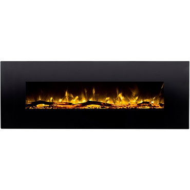 Regal Flame Erie 72 Inch Black Ventless Heater Electric Wall Mounted Fireplace - Log