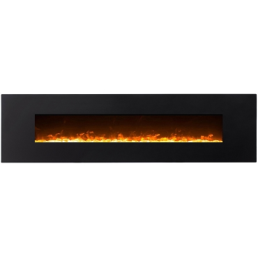 Regal Flame Huron 95 Inch Black Ventless Heater Electric Wall Mounted Fireplace - Crystal