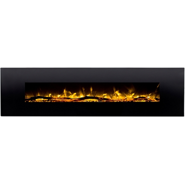 Regal Flame Huron 95 Inch Black Ventless Heater Electric Wall Mounted Fireplace - Log