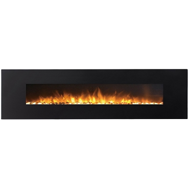 Regal Flame Huron 95 Inch Black Ventless Heater Electric Wall Mounted Fireplace - Pebble