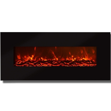 Regal Flame Valencia 50 Inch Black Ventless Heater Electric Wall Mounted Fireplace - Log Pebble Crystal