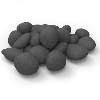Regal Flame Set of 24 Light Weight Ceramic Fiber Gas Ethanol Electric Fireplace Pebbles in Black