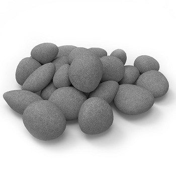 Regal Flame Set of 24 Light Weight Ceramic Fiber Gas Ethanol Electric Fireplace Pebbles in Gray