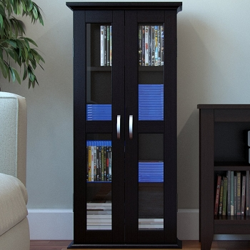 Ryan Rove Kirkwell 41 Inch Wood DVD Media Storage Tower in Black