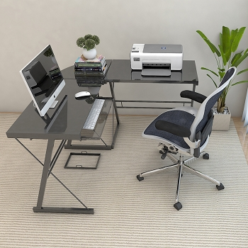 Ryan Rove Madison L-Shaped Computer Desk in Black