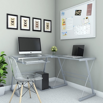 Ryan Rove Madison L-Shaped Computer Desk in Silver