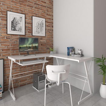 Ryan Rove Madison L-Shaped Computer Desk in White