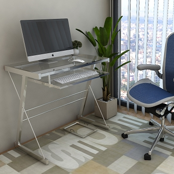 Ryan Rove Becker Metal and Glass Computer Desk in Silver