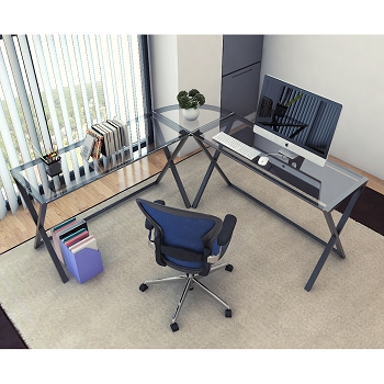 Ryan Rove Keeling X Frame Computer Desk Black Frame and Clear Glass