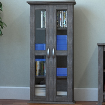 Ryan Rove Kirkwell 41 Inch Wood DVD Media Storage Tower in Ash Grey