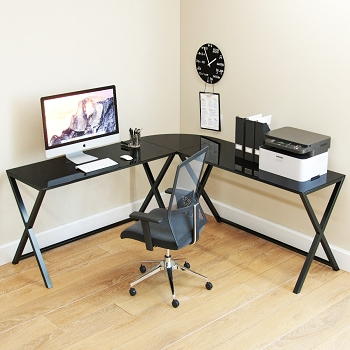 Ryan Rove Keeling X Frame Computer Desk Black Frame and Black Glass