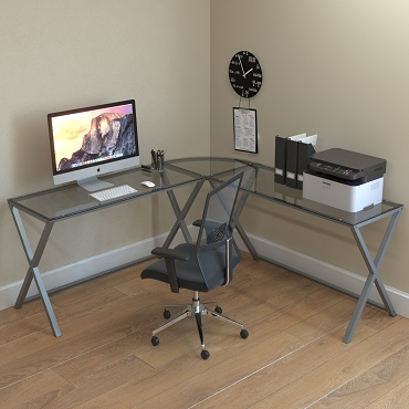 Ryan Rove Keeling X Frame Computer Desk Silver Frame and Clear Glass