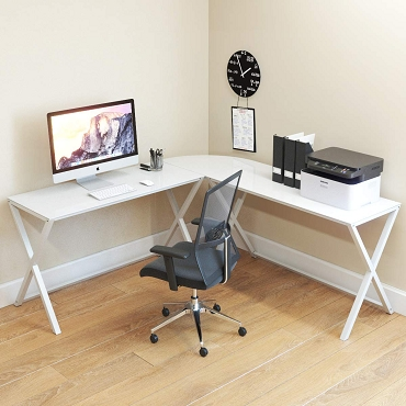 Ryan Rove Keeling X Frame Computer Desk White Frame and White Glass