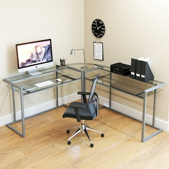 Ryan Rove Belmac 3-Piece Corner C Frame L Shaped Computer Desk in Clear Glass and Silver Frame