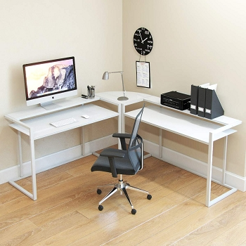 Ryan Rove Belmac 3-Piece Corner C Frame L Shaped Computer Desk in White Glass and White Frame