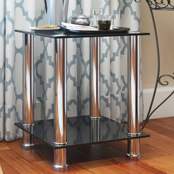 Ryan Rove Audrey End Table Sofa Table Night Table with Tempered Glass Shelves - Chrome Frame/Black Glass