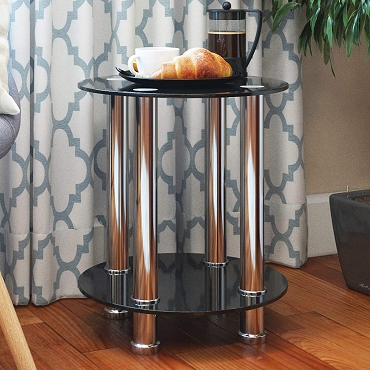 Ryan Rove Aster Round End Table Sofa Table Night Table with Tempered Glass Shelves - Chrome Frame/Black Glass
